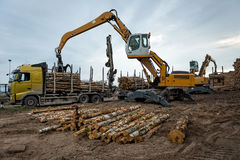 Cranes at warehouse territory logs are unloaded from the truck. Royalty Free Stock Photography
