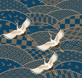 Cranes and wave, Japanese traditional pattern Royalty Free Stock Image