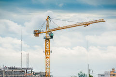 Cranes working in construction. Stock Photo