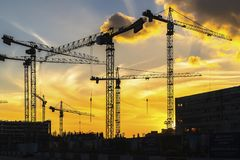 Cranes working on construction of the housing estate in former i Stock Images