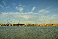 Cranes working in Port of Huelva Royalty Free Stock Photography