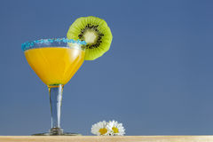Crange Cocktail and Flowers. Crange Cocktail with Kiwi and Flowers. Sky brackground Stock Image