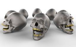 Crani con i denti dorati Immagini Stock Libere da Diritti