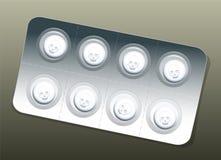 Crani di bianco della bolla delle pillole Fotografie Stock