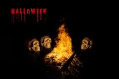 Crani, fondo di Halloween Fotografia Stock Libera da Diritti