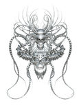 Crani intrecciati del cromo 3d Fotografie Stock Libere da Diritti