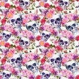 Crani umani, fiori Reticolo senza giunte watercolor illustrazione vettoriale
