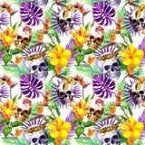 Crani umani, foglie tropicali, animali della giungla, fiori esotici Ripetizione del reticolo watercolor illustrazione di stock