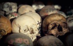 Crani in una Camera dell'osso Fotografie Stock