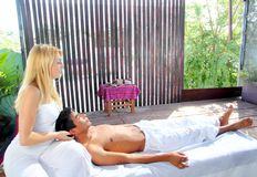 Cranial sacral massage therapy in Jungle cabin. Tropical rainforest Stock Photography
