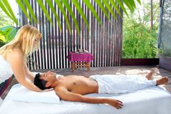 Cranial sacral massage therapy in Jungle cabin. Tropical rainforest Royalty Free Stock Photo