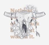 Cranio animale di Dotwork con gli attributi moderni di stile della via Modello della stampa di lerciume Indicatore luminoso di ve Immagine Stock Libera da Diritti