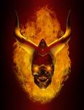 Cranio ardente cornuto del demone illustrazione di stock