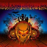 Cranio arrabbiato di Halloween illustrazione di stock
