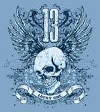 Cranio blu e disegno delle ali Fotografie Stock Libere da Diritti