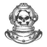 Cranio in casco d'immersione rotto illustrazione vettoriale