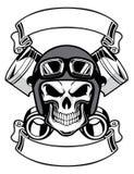 Cranio che indossa il retro casco della motocicletta royalty illustrazione gratis