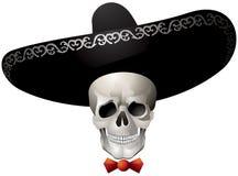 Cranio che porta un sombrero, Calaca, giorno messicano del carattere morto di festa Fotografia Stock Libera da Diritti