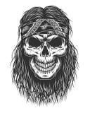 Cranio con capelli illustrazione di stock