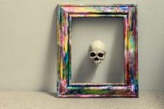 Cranio con fondo nero Immagine Stock Libera da Diritti