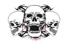 Cranio con gli elementi tribali illustrazione di stock