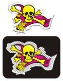 Cranio con i Crossbones e le rose Fotografia Stock