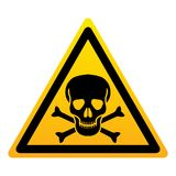 Cranio con il segno giallo del triangolo delle ossa Simbolo del pericolo illustrazione vettoriale