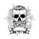 Cranio con l'acconciatura ed i baffi fotografie stock libere da diritti