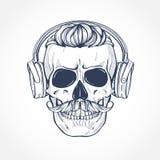 Cranio con l'acconciatura ed i baffi immagini stock libere da diritti