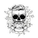 Cranio con l'acconciatura ed i baffi fotografia stock