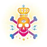 Cranio con l'occhio e la corona illustrazione di stock