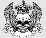 Cranio con la corona e le ali Immagini Stock