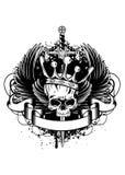 Cranio con la corona, le ali e la spada illustrazione vettoriale