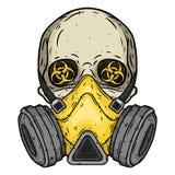 cranio Cranio con la maschera antigas Cranio con il respiratore illustrazione vettoriale