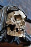 Cranio con la sciarpa nera Immagini Stock Libere da Diritti