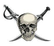 Cranio con le spade attraversate, simbolo del pirata, vintag del disegno della mano di logo illustrazione di stock