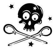 Cranio con le stelle ed i cucchiai Fotografia Stock