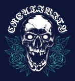 Cranio con progettazione della stampa di lerciume delle rose royalty illustrazione gratis