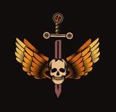 Cranio d'annata con l'emblema delle ali e della spada royalty illustrazione gratis