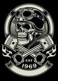 Cranio d'annata del motociclista con l'emblema attraversato del pistone Fotografia Stock
