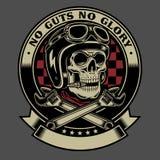 Cranio d'annata del motociclista con l'emblema attraversato delle chiavi inglesi illustrazione vettoriale