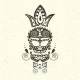 Cranio decorativo di vettore Giorno dei morti nel Messico Il cranio su un fondo leggero per Halloween Tradizionale, religioso Immagine Stock