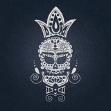 Cranio decorativo di vettore Giorno dei morti nel Messico Il cranio su un fondo scuro per Halloween Tradizionale, religioso Fotografia Stock Libera da Diritti