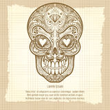 Cranio decorativo messicano su fondo d'annata royalty illustrazione gratis