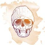 Cranio dei pantaloni a vita bassa in cappello tricottato Fotografia Stock