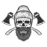 Cranio del boscaiolo con le asce attraversate Progetti l'elemento per l'emblema, il segno, il manifesto, maglietta royalty illustrazione gratis