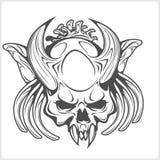Cranio del demone su bianco Immagini Stock Libere da Diritti