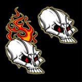 Cranio del fumetto con il vettore di immagine della fiamma Immagine Stock