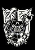Cranio del guerriero del cavaliere con l'arma attraversata illustrazione vettoriale