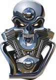 Cranio del metall di vettore con il motore illustrazione di stock
